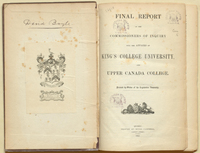 Commission of Enquiry, King's College,  Final report of Commissioners....(1852), with bookplate of the Baldwins of Spadina