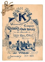 "Menu (front cover) for ""K University Company of Canada Last Roll Call"", 1893"