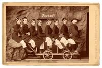 """""""Going down the salt mines"""", taken in Berchtesgaden, Germany in June, 1889 showing Professor William Henry Vander Smissen at front."""