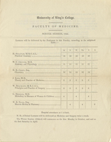 King's College.  Faculty of Medicine,  Syllabus for the winter session, 1844.